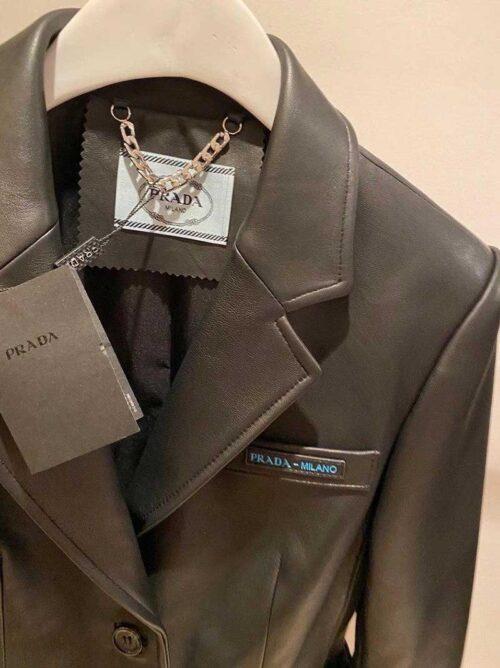 Кожаный пиджак Prada